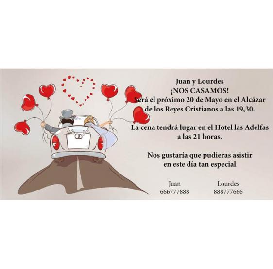Invitacion de boda novios coche