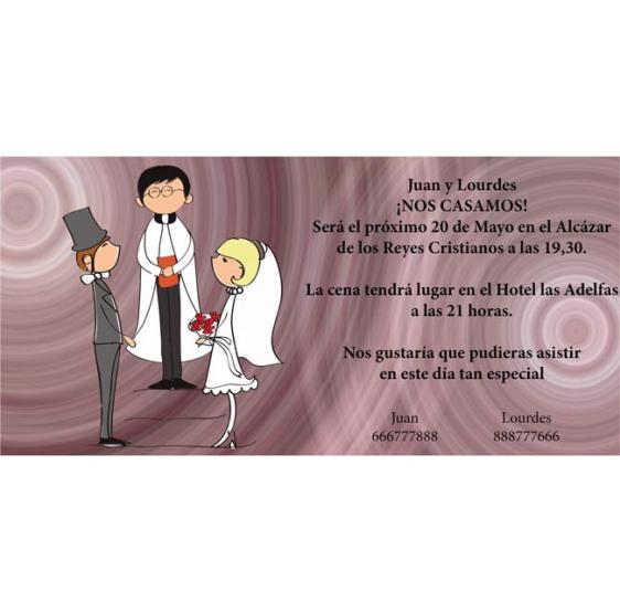 Invitacion de boda novios casandose