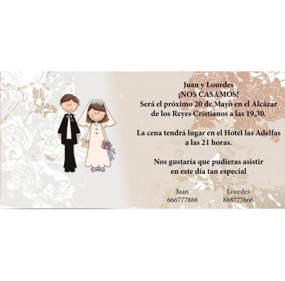 Invitacion de boda novios adorno flores