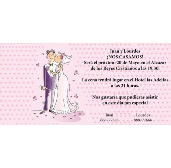 Invitacion original de boda con novios