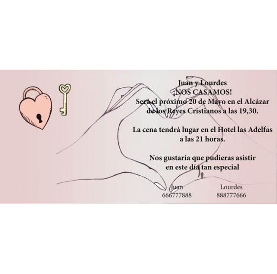 Invitacion de boda llave corazón