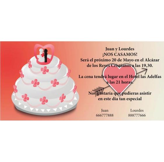 Invitacion original de boda con tarta