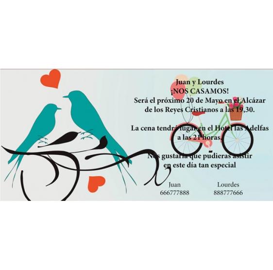 Invitacion de boda pareja pajaros