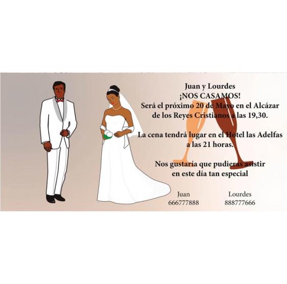 Invitacion de boda copas brindis