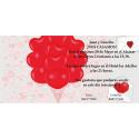 Invitacion de boda globos corazones