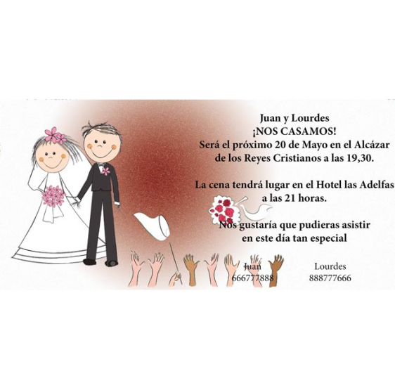 Invitacion de boda ramo