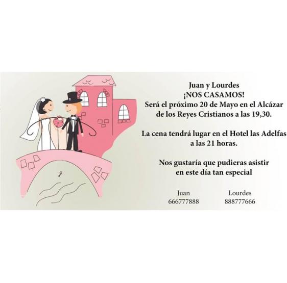 Invitacion de boda novios puente
