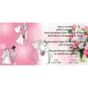 Invitacion de boda novios y ramo de flores