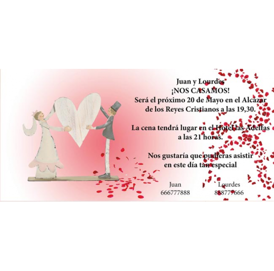 Invitación de boda novios sujetando corazón