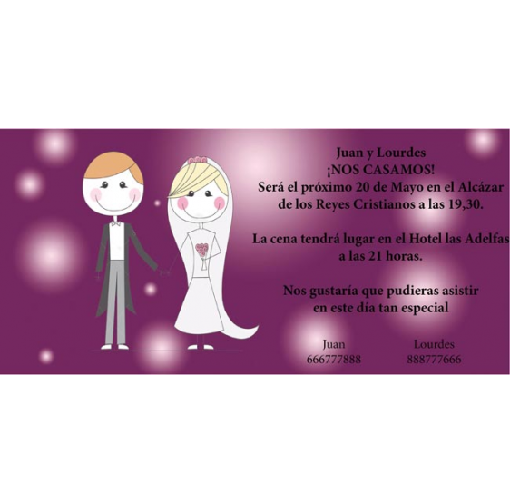 Invitación original de boda con novios