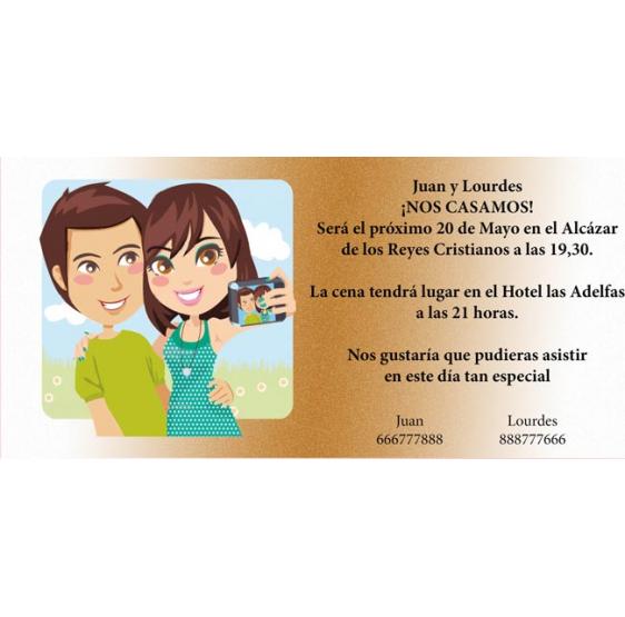 Invitación original de boda selfie novios