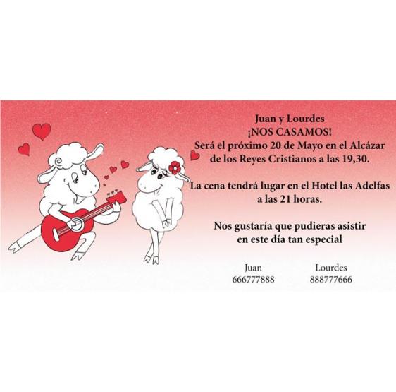 Invitación original de boda ovejas guitarra