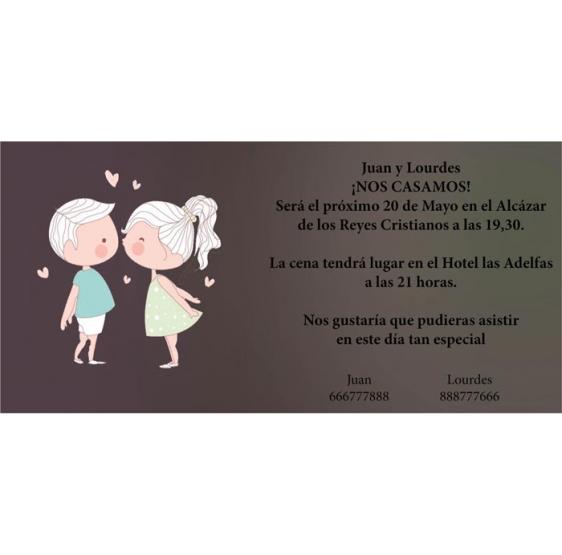 Invitación original de boda niños