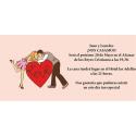 Invitación original de boda con novios corazón
