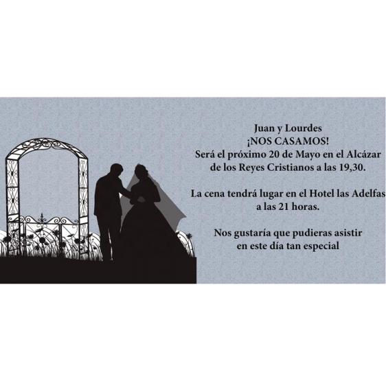 Invitación de boda novios casandose