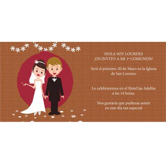 Invitación original de boda con novios casados