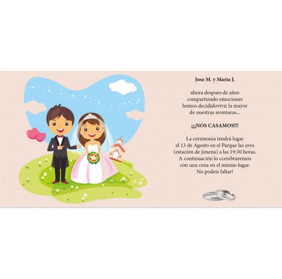 Invitación de boda dibujo novios