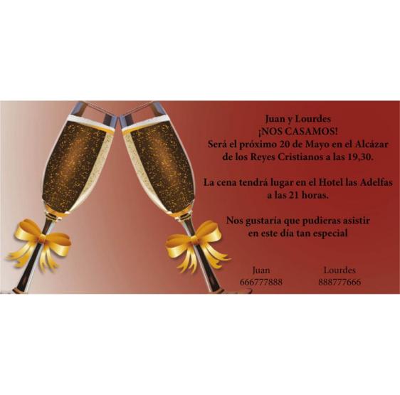 Invitación de boda copas brindis