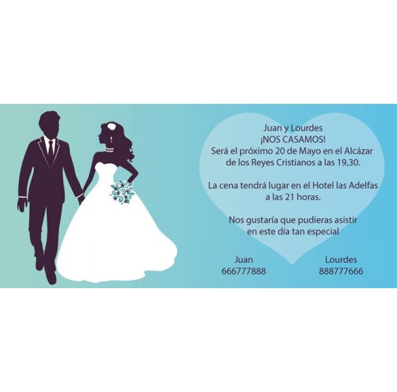 Invitación de boda corazón azul