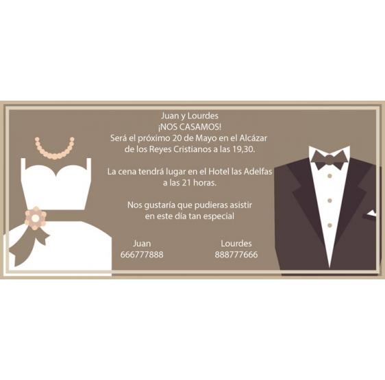 Invitación de boda traje de novia y novio
