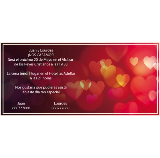 Invitación de boda fondo corazones
