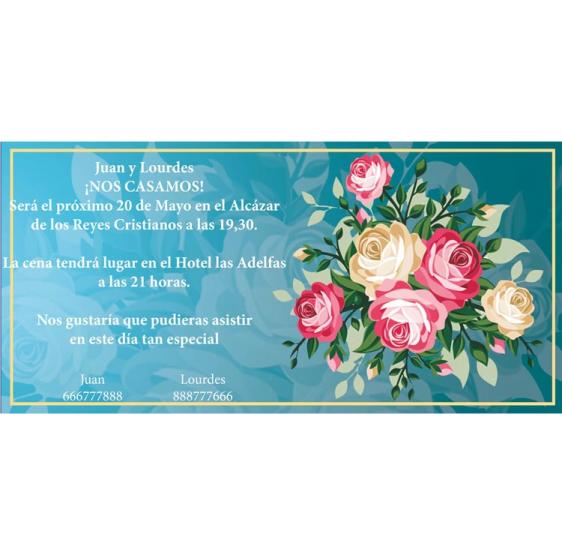 Invitación de boda ramo de rosas