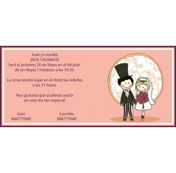 Invitación original de boda de novios