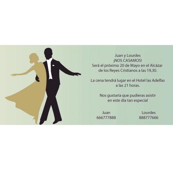 Invitación original de boda de novios bailando