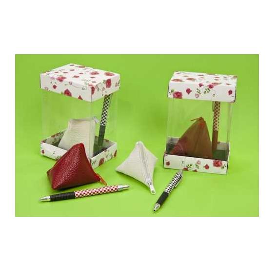 Estuche PVC bolígrafos y monedero triangulo surtidos (precio unidad)