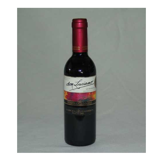 Botella de vino tempranillo 2012 don luciano D.O La Mancha 37,5 cl