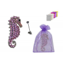 BROCHE DECOR CABALLITO DE MAR + BOLSA TULL LISA (8942)