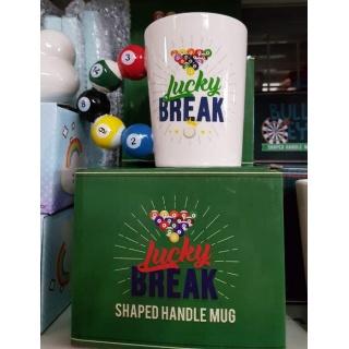 """Taza """"Lucky Break"""" con asa de bolas de billar"""