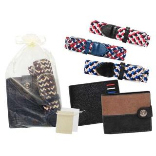 Cinturón de tela elástico y Cartera de piel con bolsa de tul