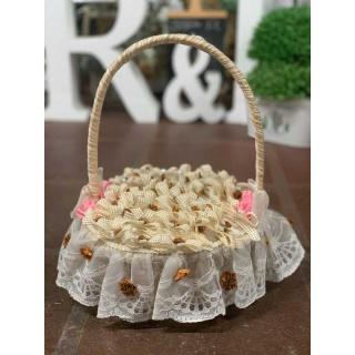 Pack de 45 alfileres con Canasta con encaje y flores rosas