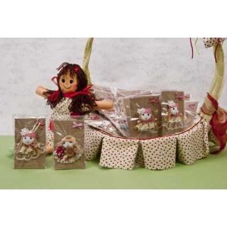 Broche muñeca rayas con cartón