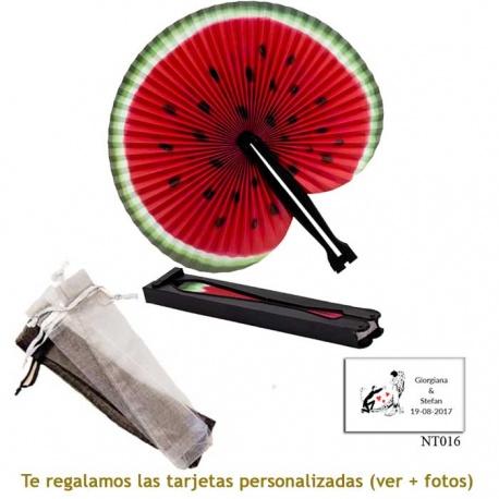 Abanico Pai Pai con diseño de sandía y con bolsa de organdil