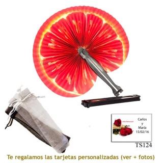 Abanico Pai Pai con diseño de naranjas y con bolsa de organdil