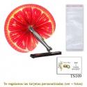 Abanico Pai Pai con diseño de naranjas y con bolsa de celofan