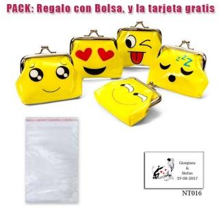 Divertido monedero de emoticono amarillo con hebilla