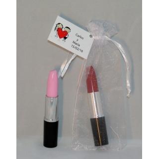Bolígrafos pintalabios en bolsa organza con tarjeta