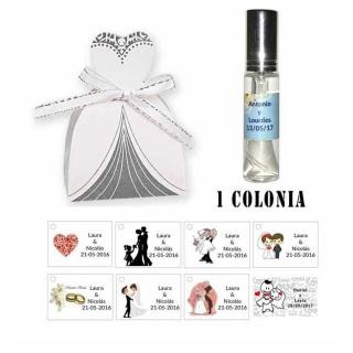 Colonia personalizada en cesta novia