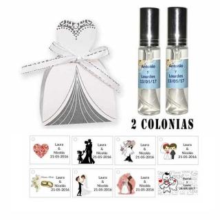 Colonias personalizadas en cesta de novia