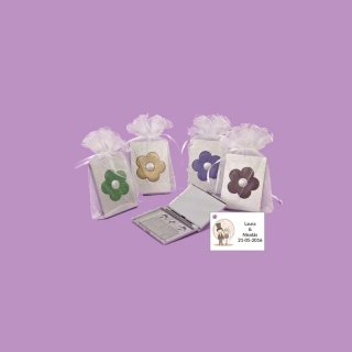 Espejo flores + bolsa + tarjeta