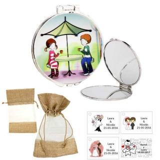 Espejo con sombrilla y niños, con bolsa de saco marrón y tull, y tarjeta personalizada