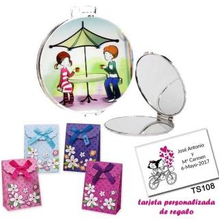 Espejo con sombrilla y niños, con caja de flores y tarjeta personalizada