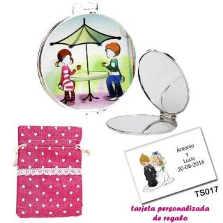 Espejo con sombrilla y niños, con bolsa de saco rosa estampada y tarjeta personalizada