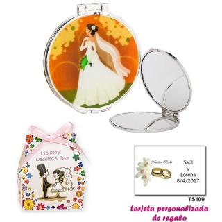 Espejo con una elegante novia con velo, con caja de flores y dibujo de novios, y tarjeta personalizada