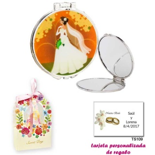 Espejo con una elegante novia con velo, con caja de flores, y tarjeta personalizada