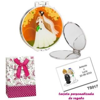 Espejo con una elegante novia con velo, con caja de flores y lazo fucsia, y tarjeta personalizada
