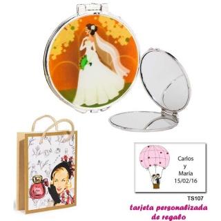 Espejo con una elegante novia con velo, con dibujos de mujer, perfume y belleza, y tarjeta personalizada